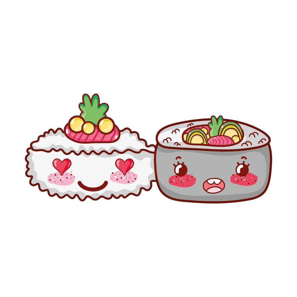 kawaii sushi wasabi en roll groenten eten japanse cartoon, sushi en broodjes vector