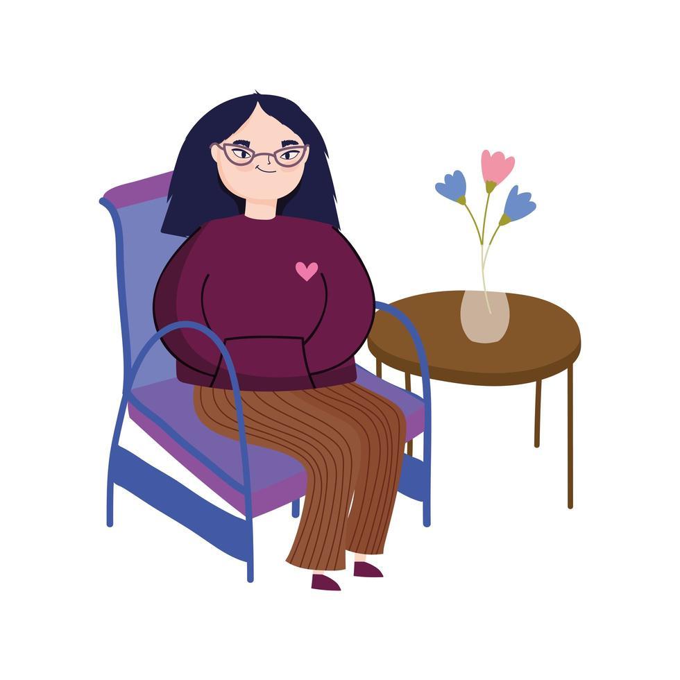 jonge vrouw die een bril draagt die in stoel zit vector