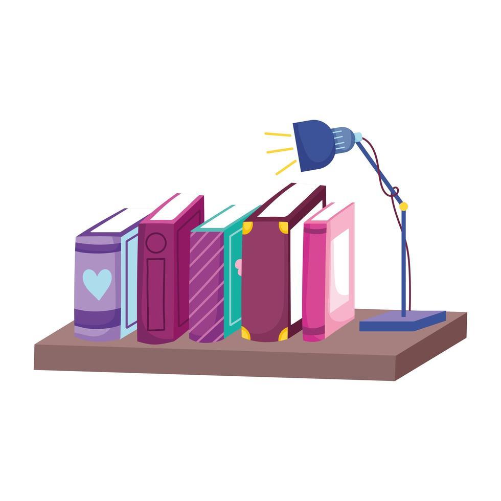 rij boeken lichte lamp in plank, boekdag vector