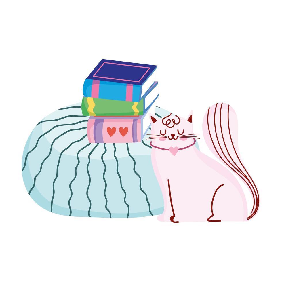 kat met boeken kussen cartoon, boekdag vector