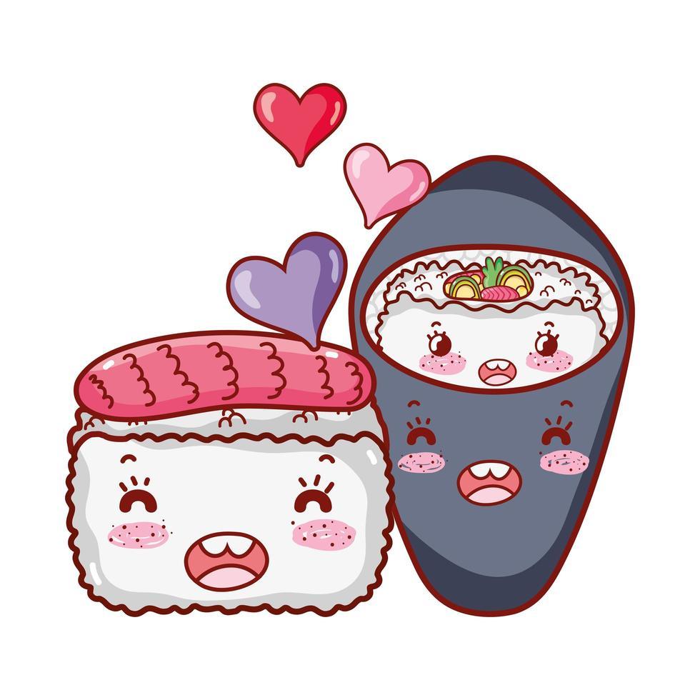 kawaiisushi en temaki-voedsel Japanse tekenfilm, sushi en broodjes vector