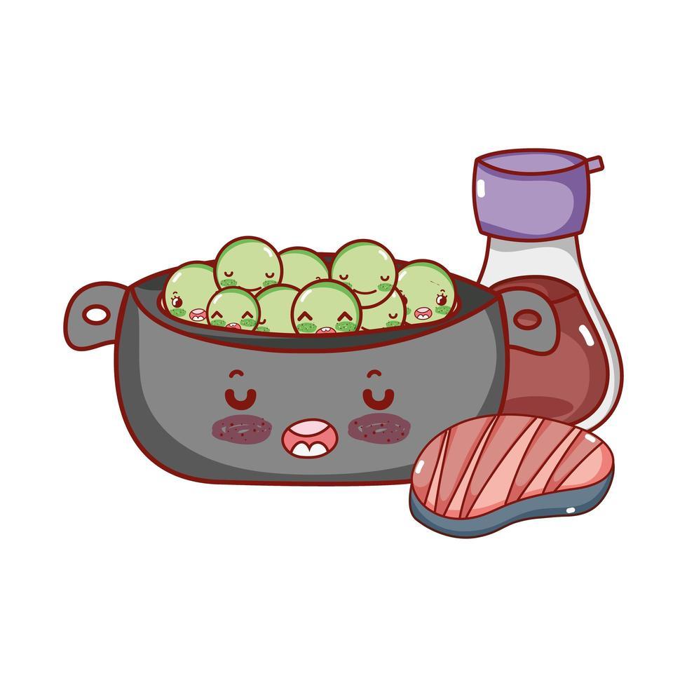 kawaii kookpot erwten vlees en sake food japanse cartoon, sushi en broodjes vector