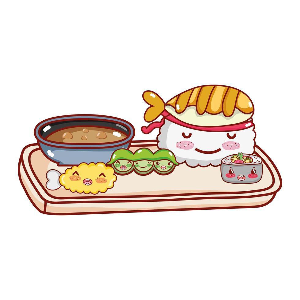 kawaii sushi erwten tempura japanse cartoon, sushi en broodjes vector