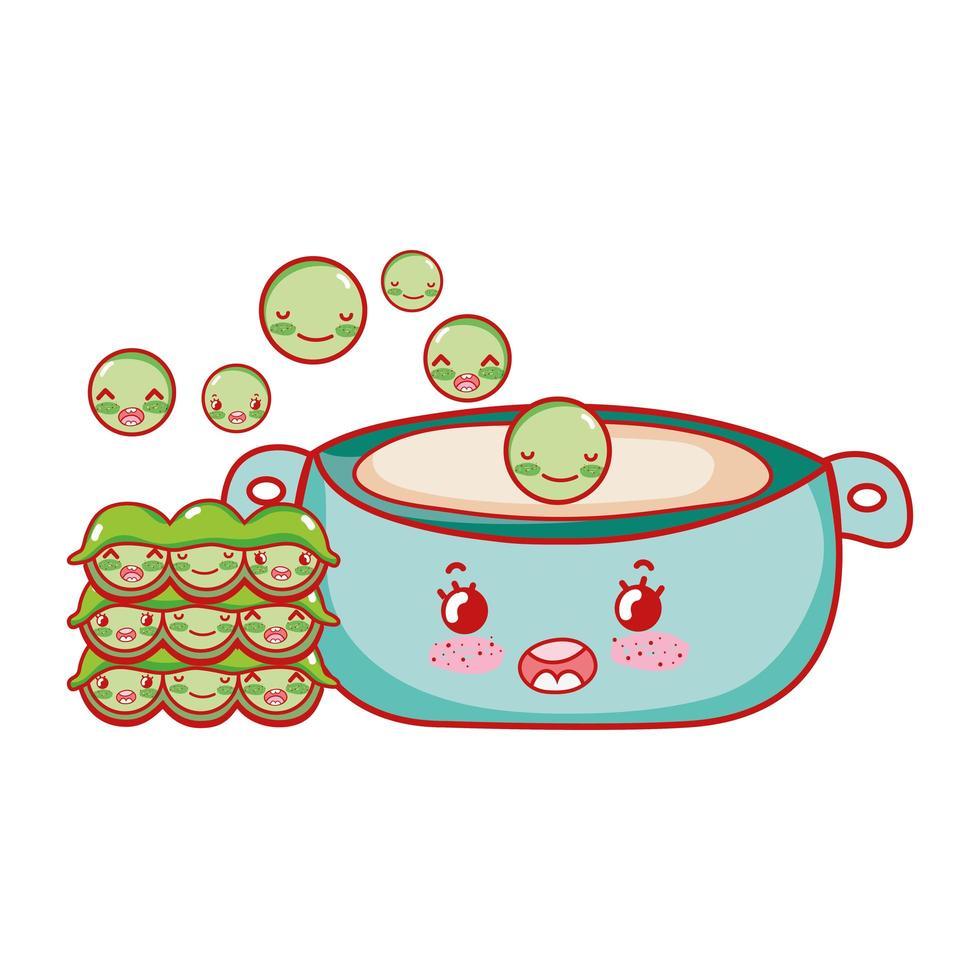 erwten in pot kawaii eten japanse cartoon, sushi en broodjes vector