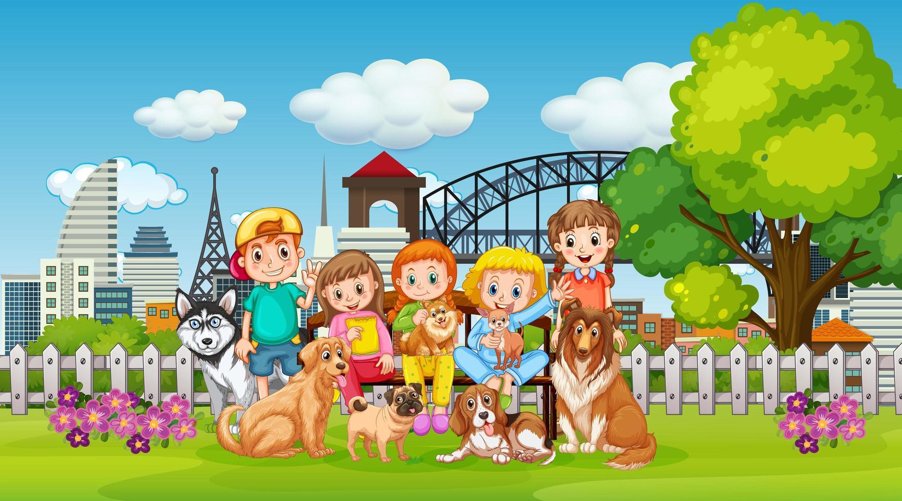 park buitenscène met veel kinderen en hun huisdier vector