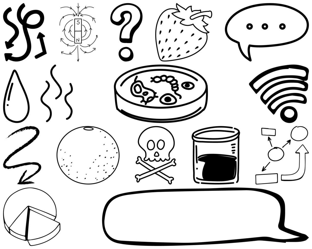 set item en symbool hand getrokken doodle vector