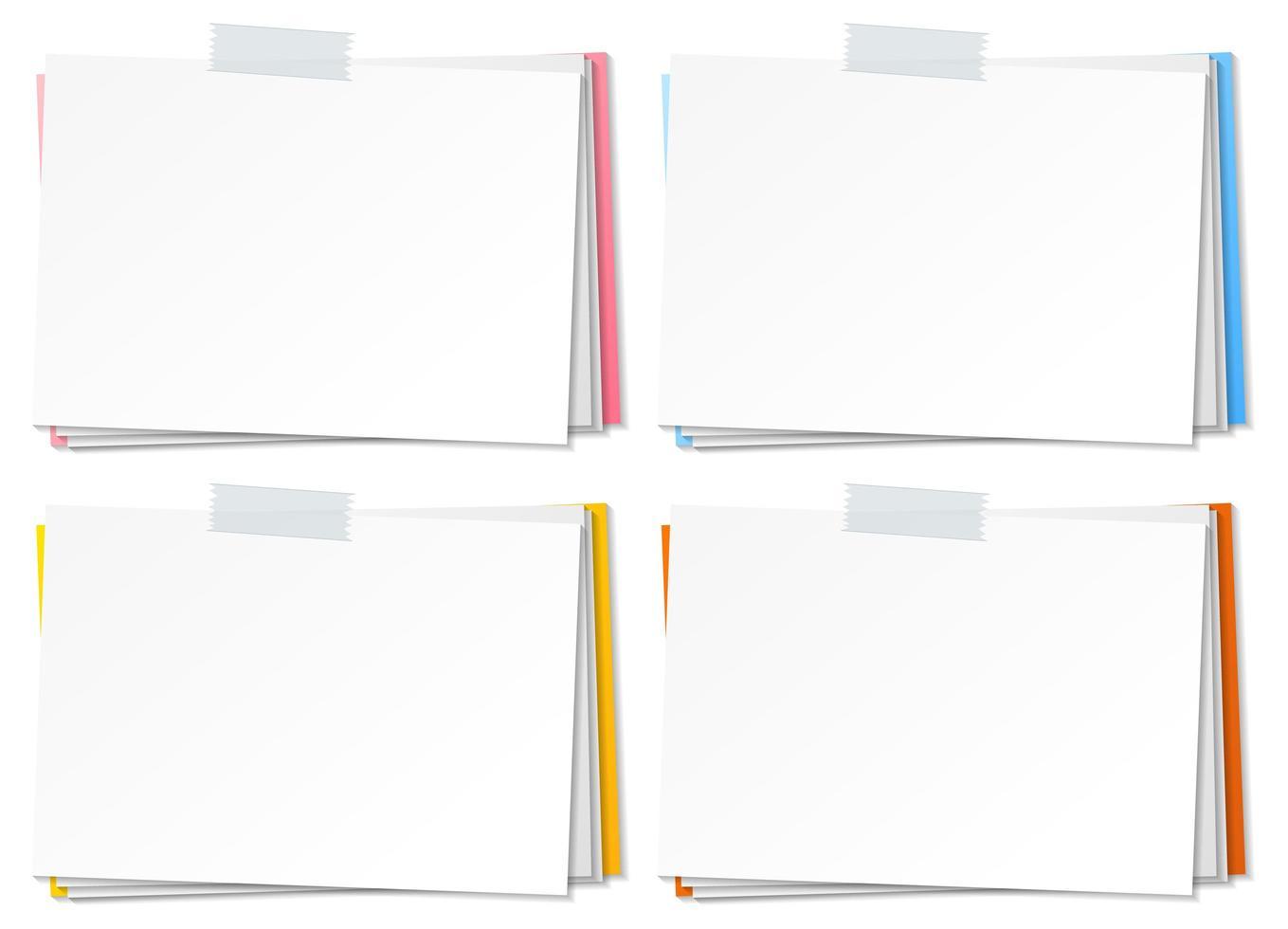 lege papieren notitie sjabloon stok met tape vector