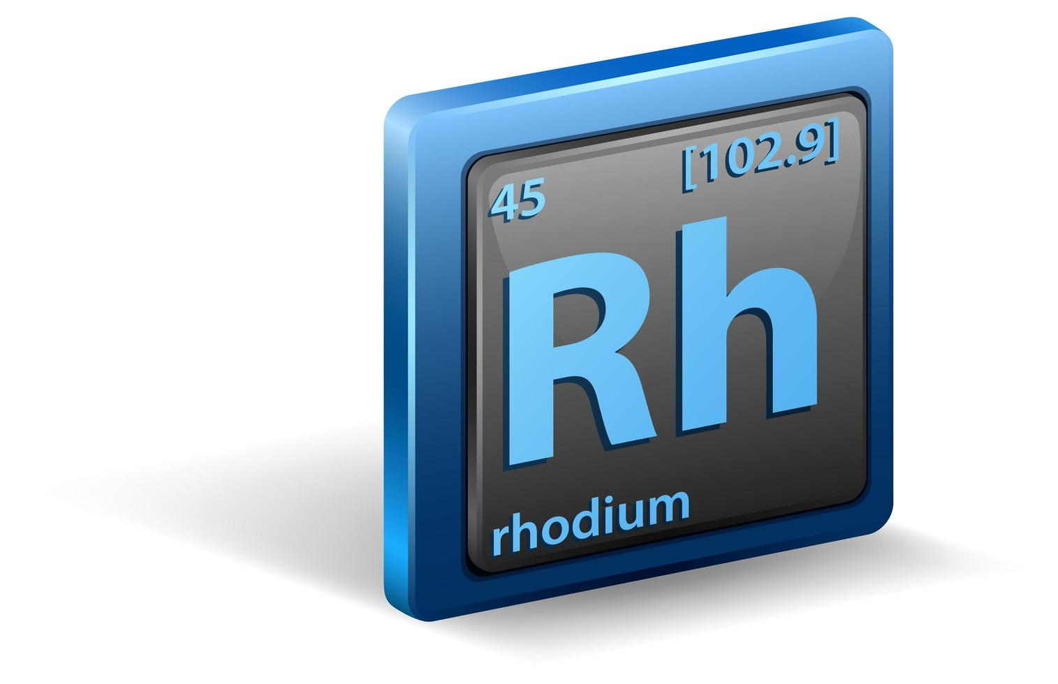 rhodium scheikundig element. chemisch symbool met atoomnummer en atoommassa. vector