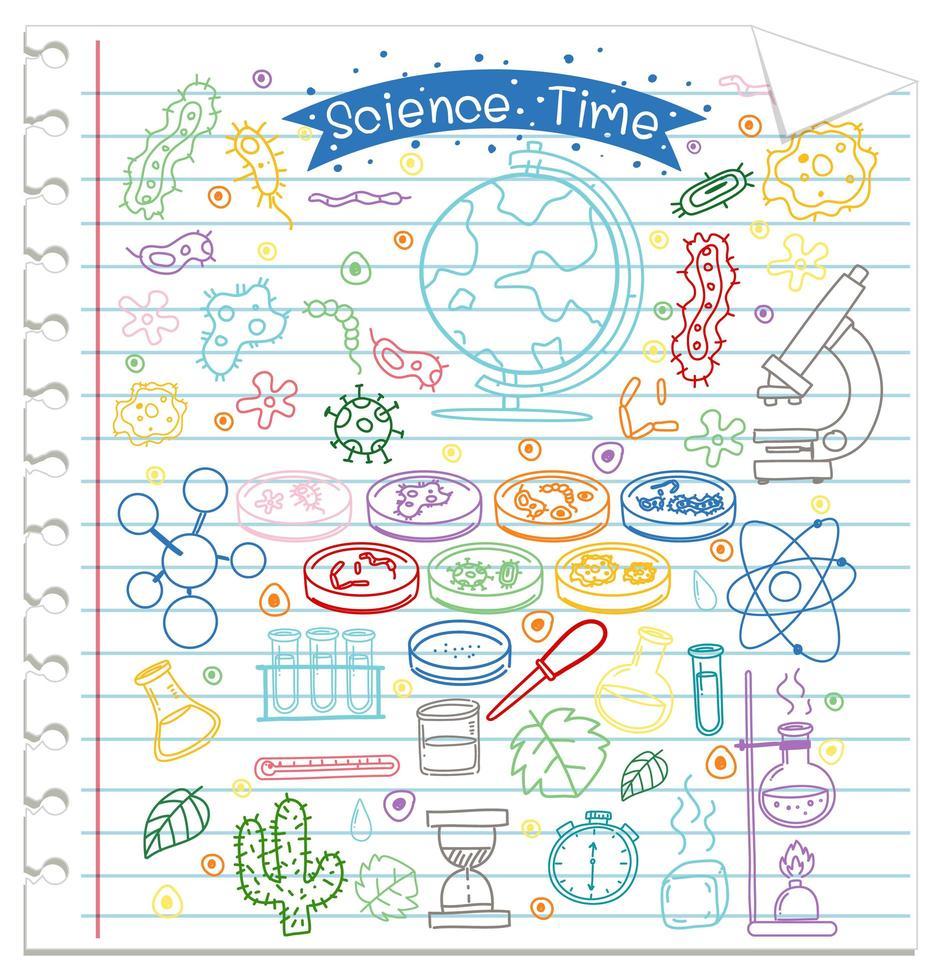 set van wetenschap element doodle op papier vector