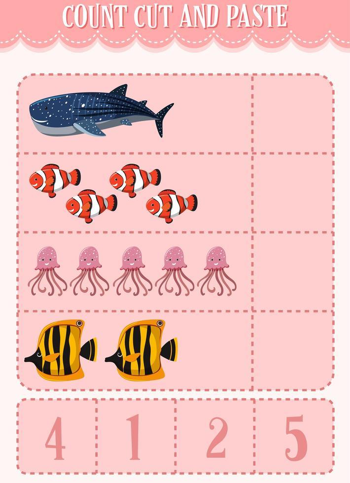 rekenwerkblad voor kinderen tellen, knippen en plakken vector