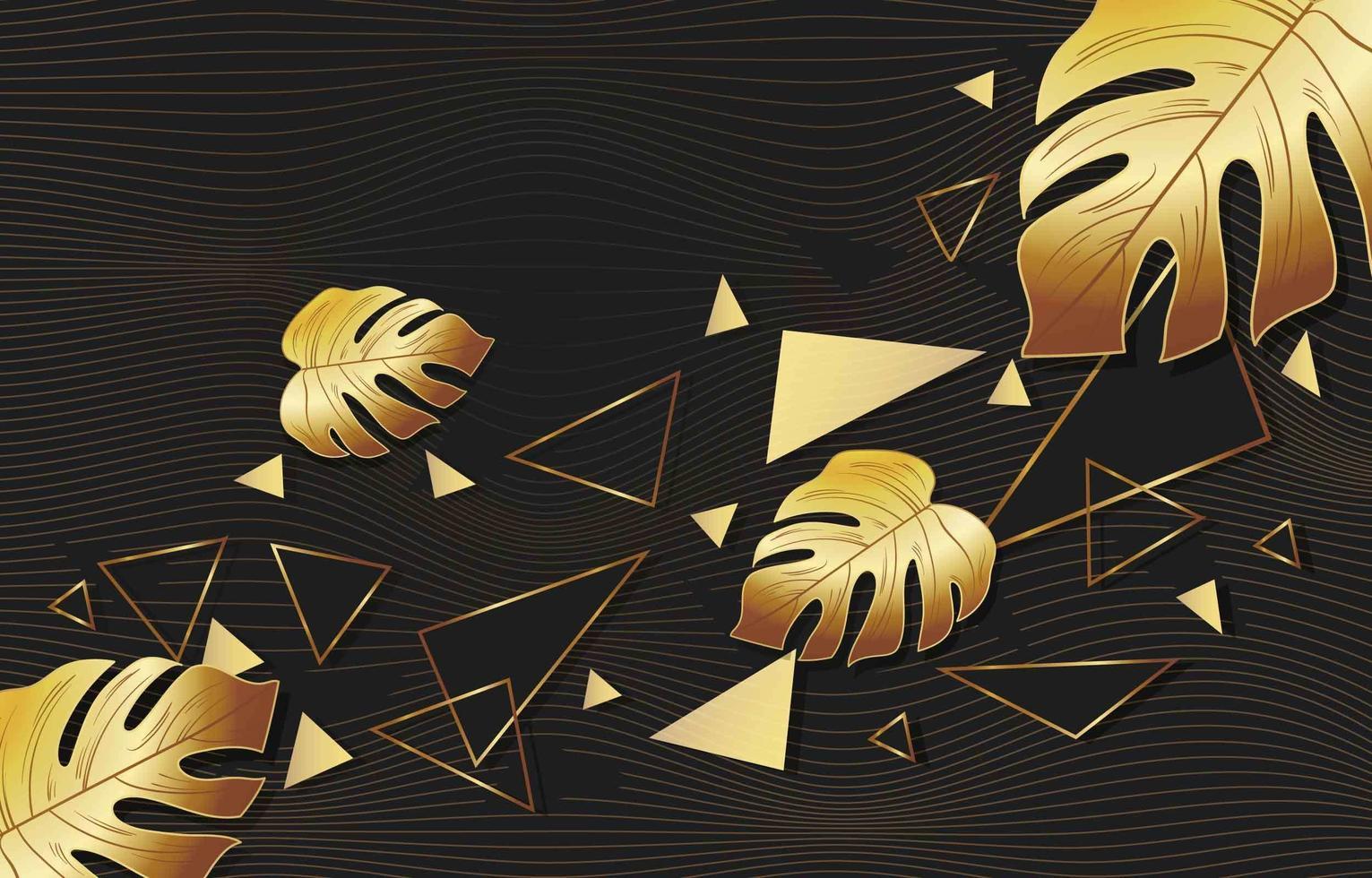 gouden veelhoekige bladachtergrond vector