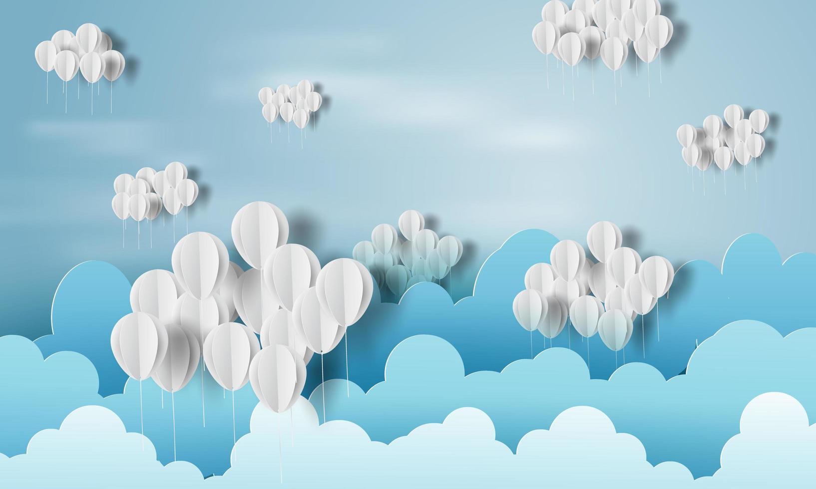 papierkunst van ballonnen als wolken op blauwe hemelbanner vector