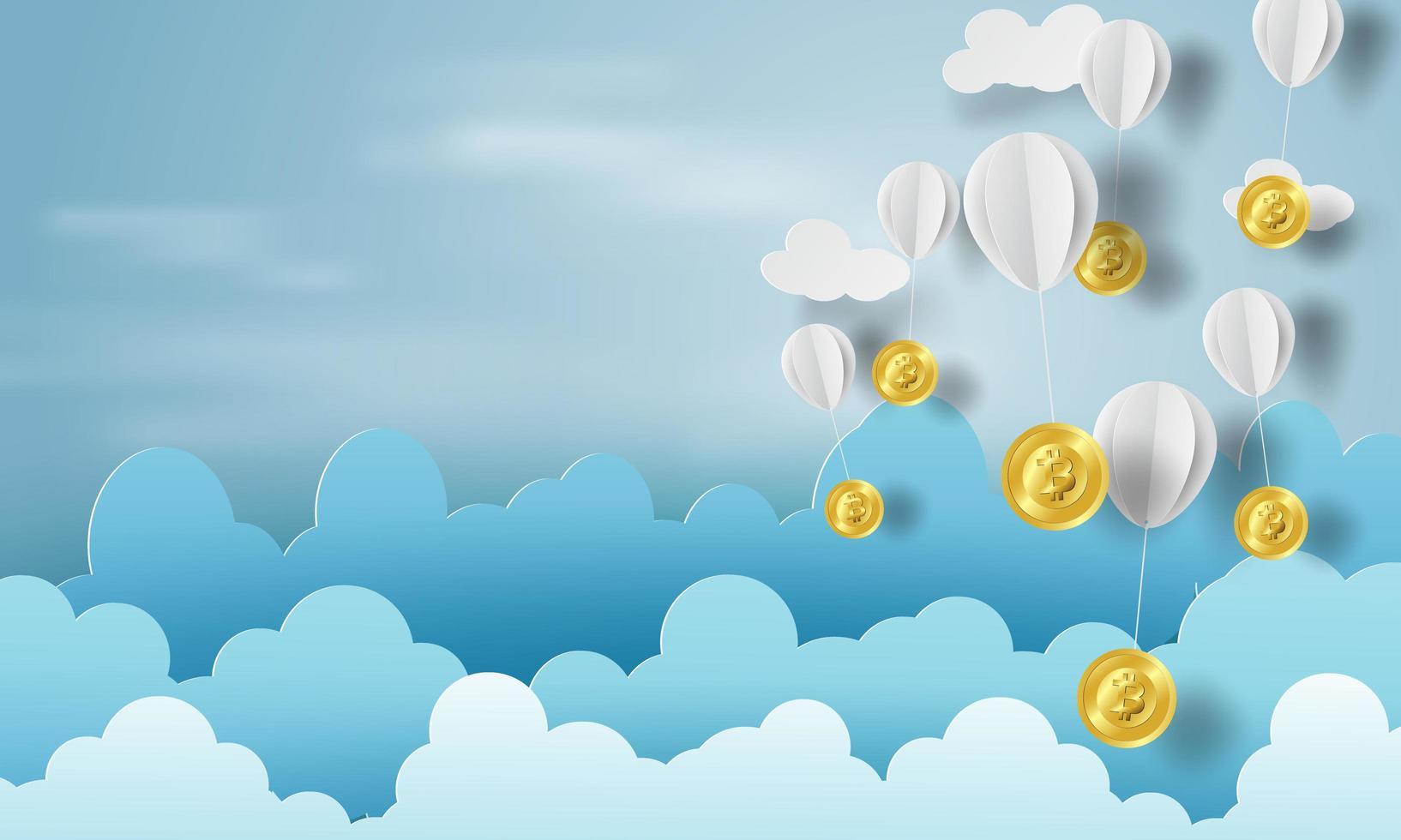 papierkunst van ballonnen als wolken op blauwe hemelbanner met bitcoins vector