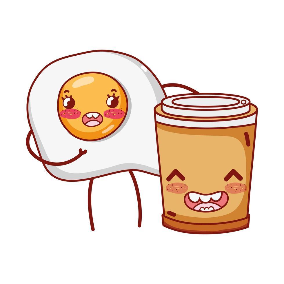 ontbijt schattig gebakken ei en plastic koffiekopje cartoon vector