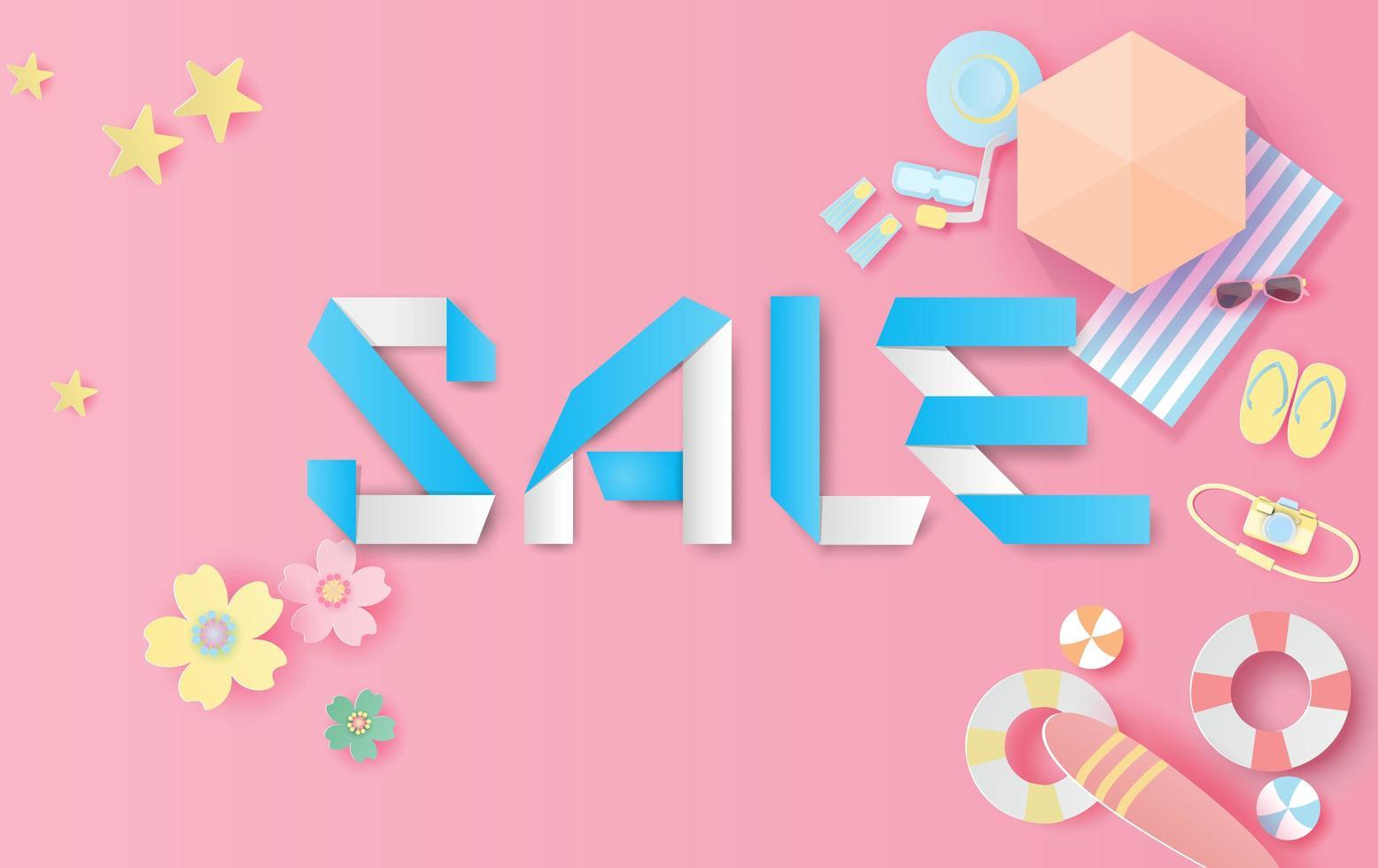 papier kunst en ambacht zomer verkoop banner achtergrond vector
