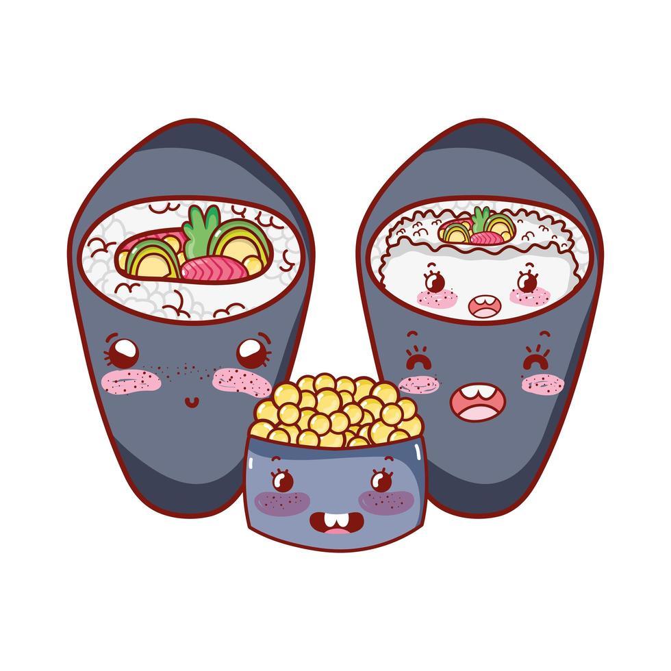 kawaii temaki sushi rijst salade kaviaar eten japanse cartoon, sushi en broodjes vector