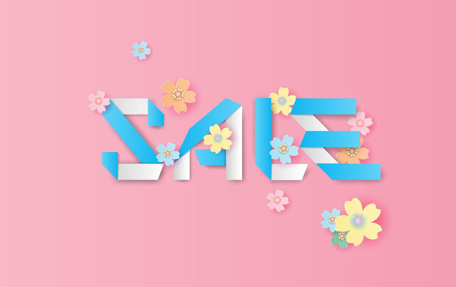 papier kunst en ambacht lente verkoop banner achtergrond vector