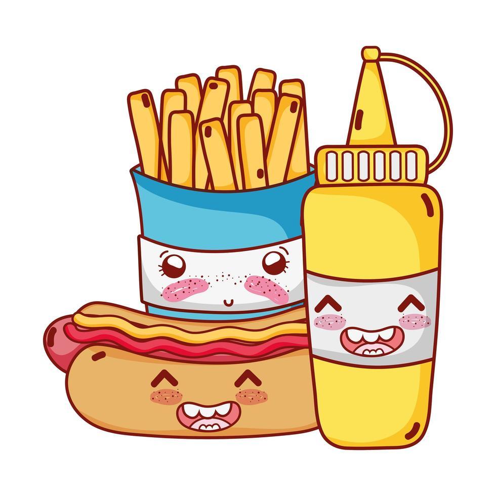 fastfood schattige frietjes hotdog en mosterd cartoon vector