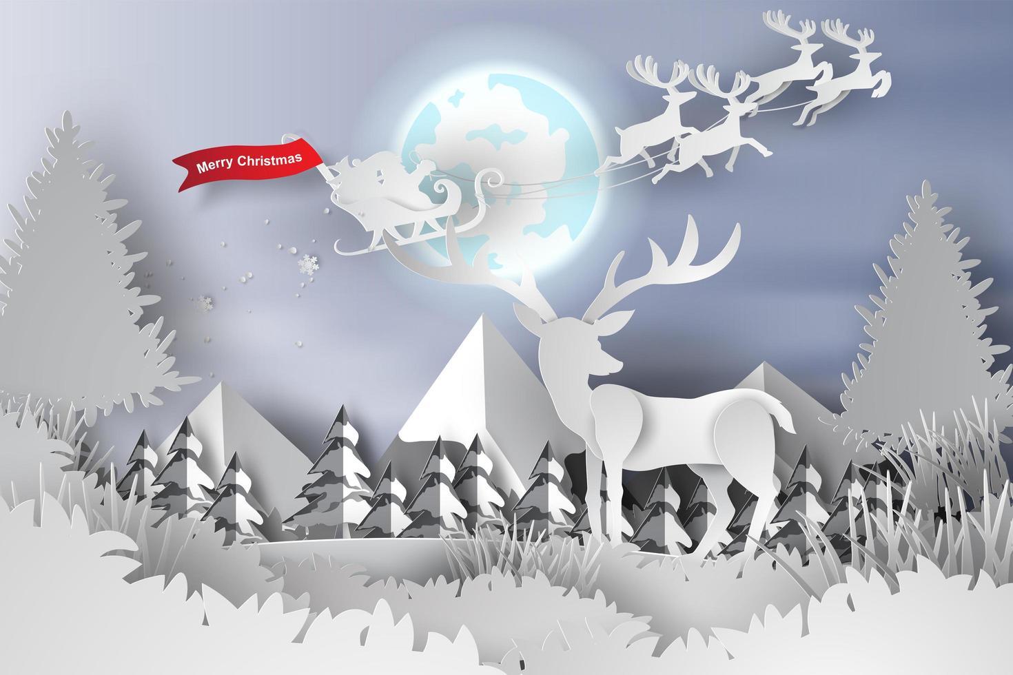 prettige kerstdagen en gelukkig nieuwjaar papier gesneden banner met herten vector
