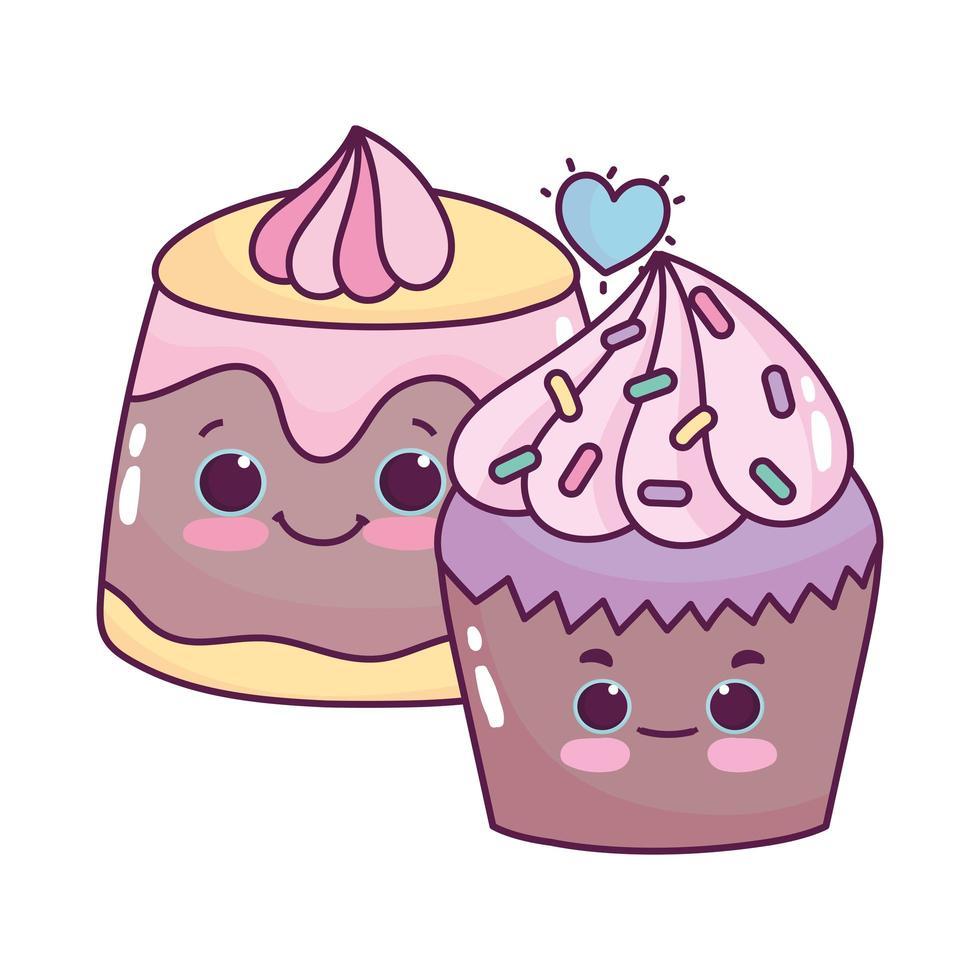 schattig eten cupcake en gelei zoet dessert gebak cartoon geïsoleerd ontwerp vector
