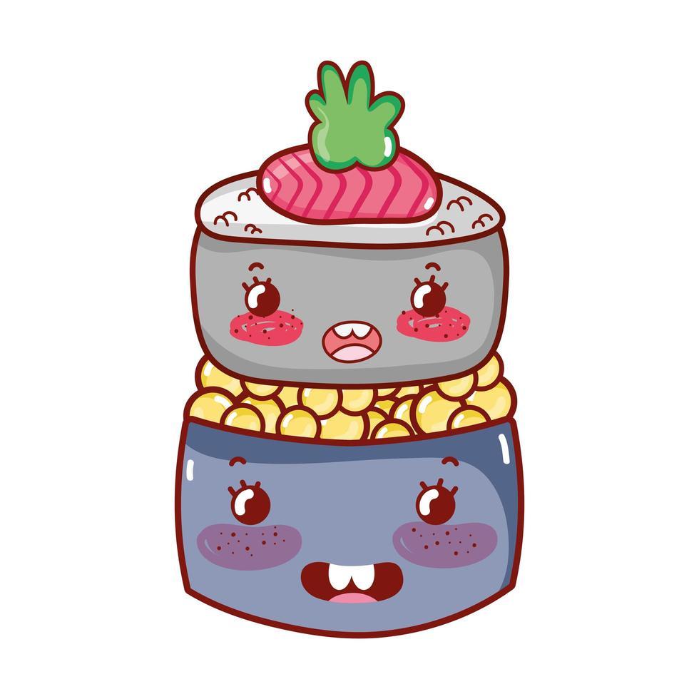 kawaii sushi roll kaviaar eten japanse cartoon, sushi en broodjes vector