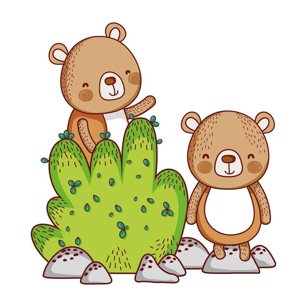 schattige dieren, kleine beren gebladerte bush natuur ontwerp vector