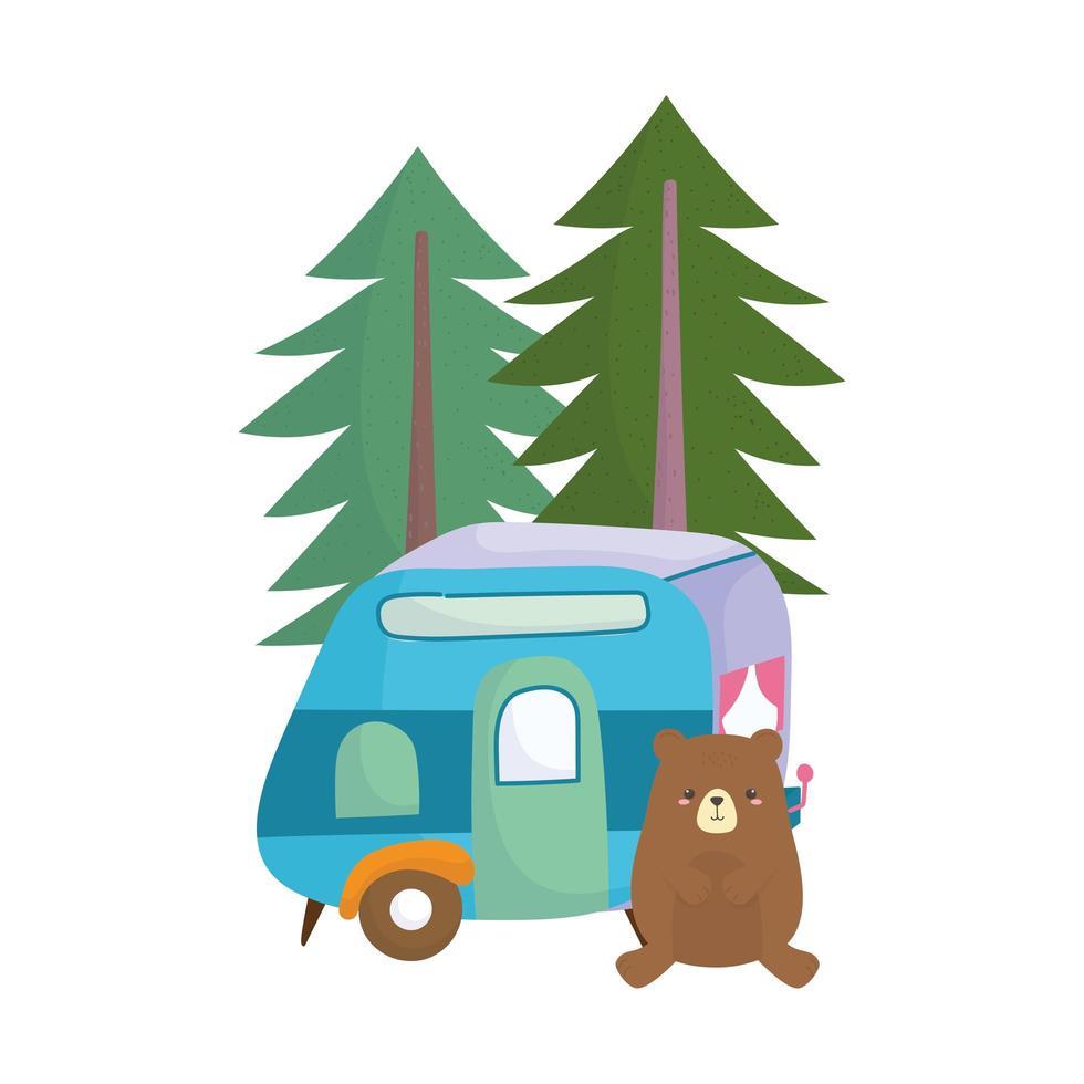camping schattige beer trailer pijnbomen bos cartoon vector