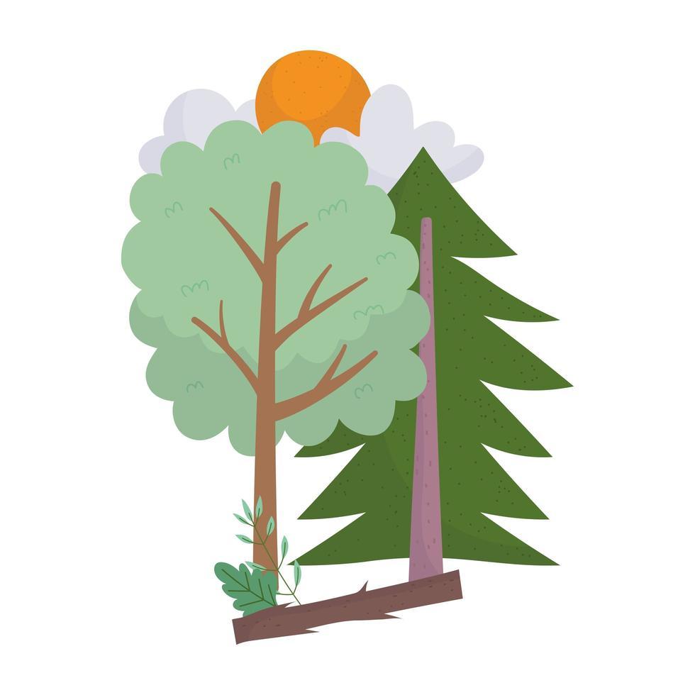 bomen houten struik zon wolken geïsoleerde pictogram ontwerp vector