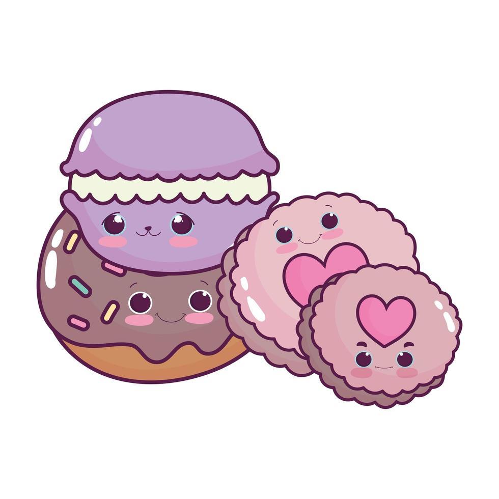 schattig voedsel macaron donut en koekjes zoet dessert gebak cartoon geïsoleerd ontwerp vector