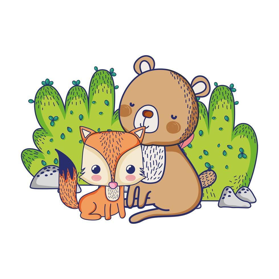 schattige dieren, beer en vossenstruik natuur geïsoleerd ontwerp vector