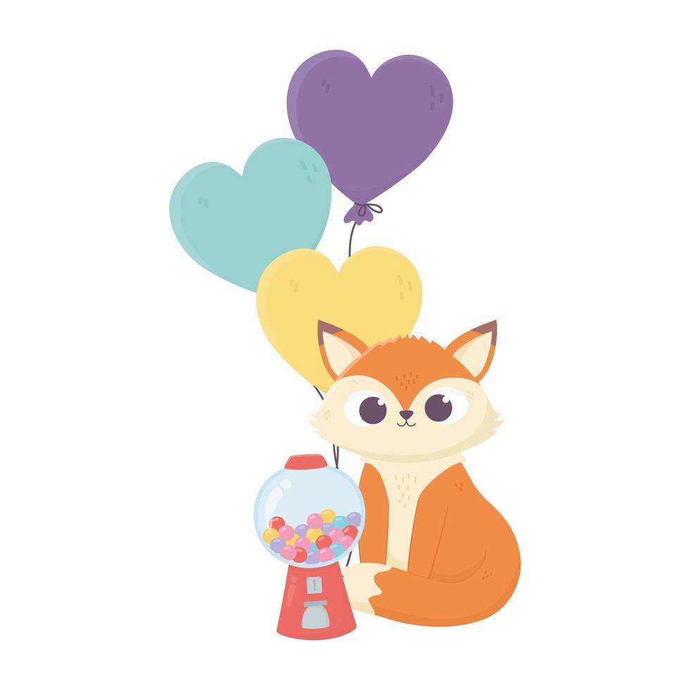 gelukkige dag, kleine vos snoepjes en ballonnen geïsoleerd ontwerp vector