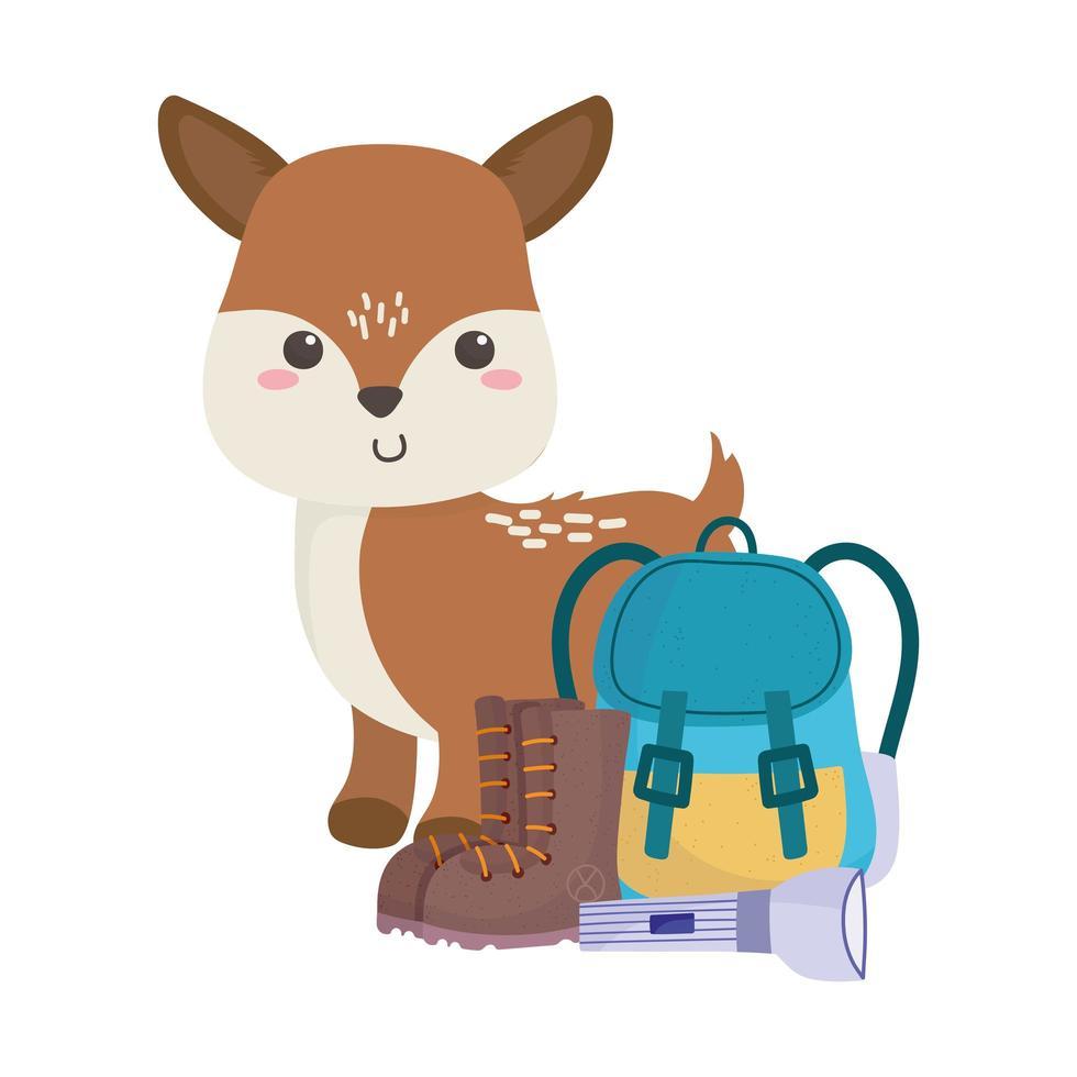camping schattige kleine herten rugzak zaklamp laarzen cartoon vector
