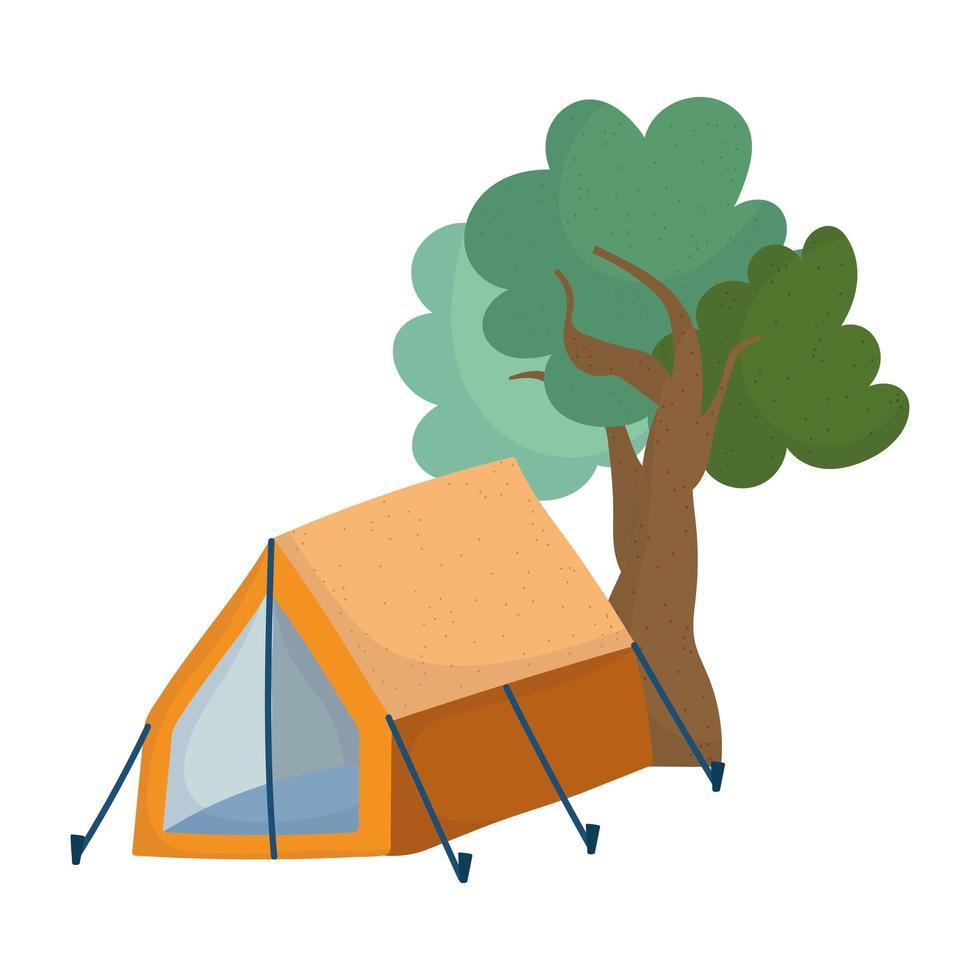 Camping tent gebladerte bomen natuur cartoon geïsoleerde pictogram ontwerp vector