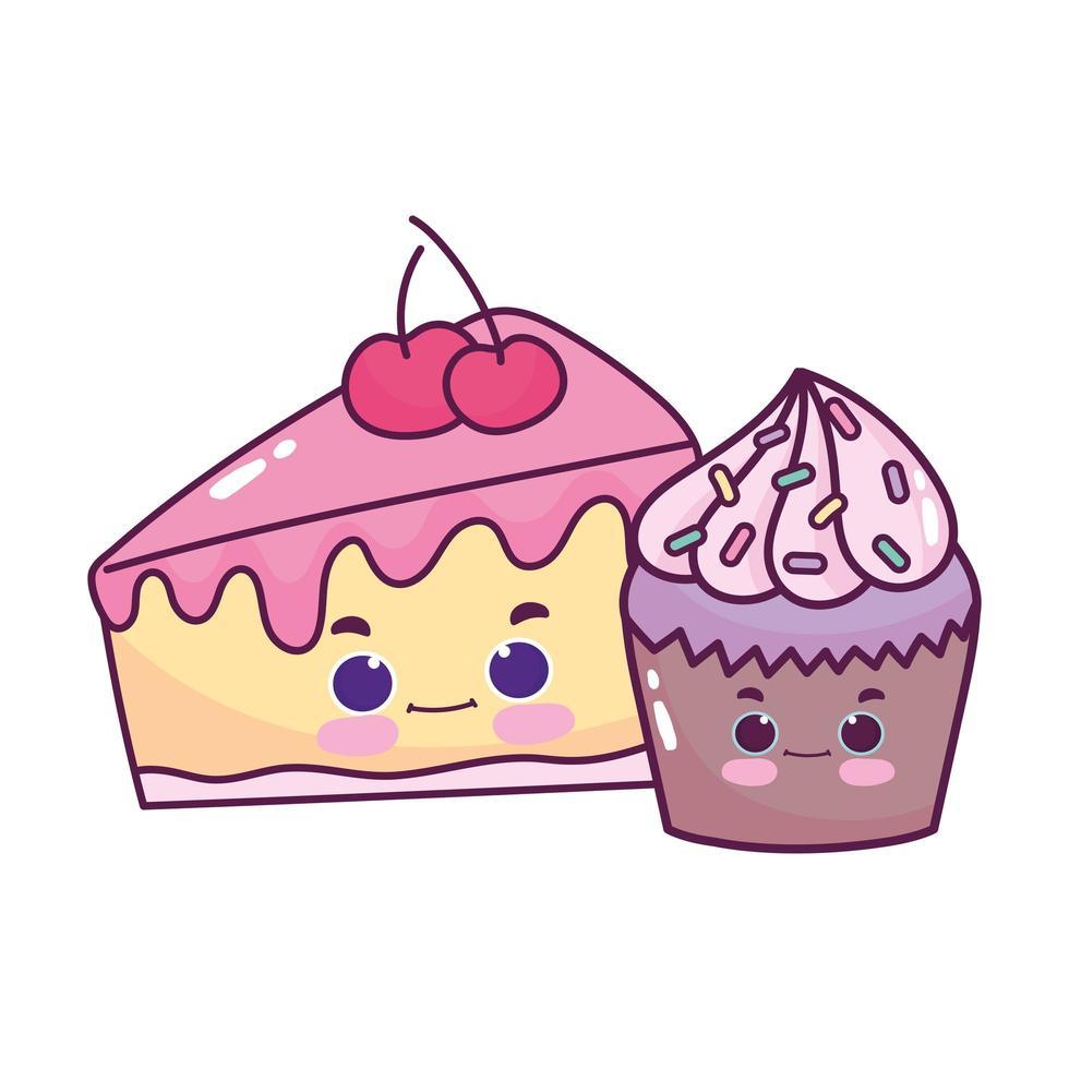 schattig eten cupcake en plak cake kersen zoet dessert gebak cartoon geïsoleerde ontwerp vector