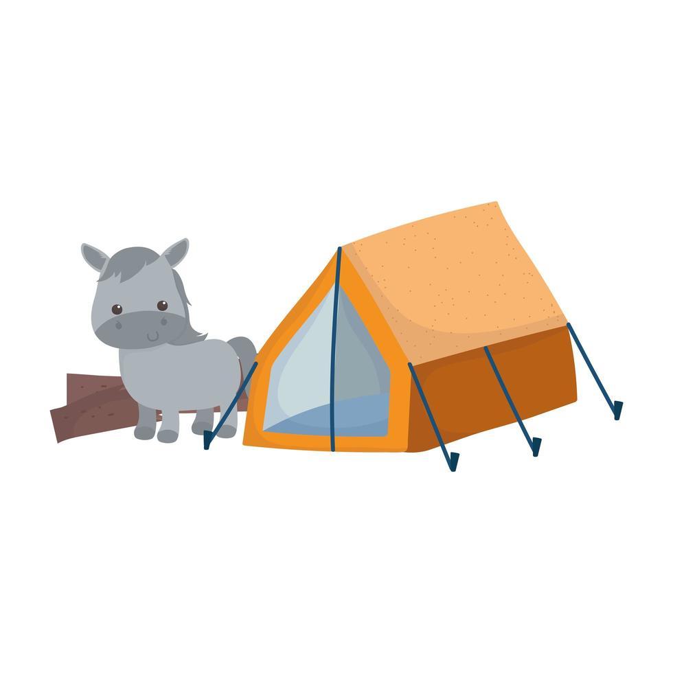 camping schattige ezel tent natuur cartoon vector
