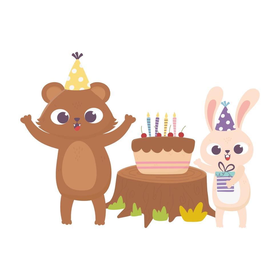 gelukkige dag, beer konijn met feestmuts taart geschenkdoos vector