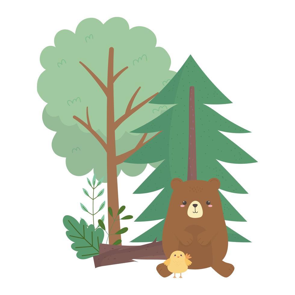 Camping beer en kippen bomen cartoon geïsoleerd pictogram ontwerp vector