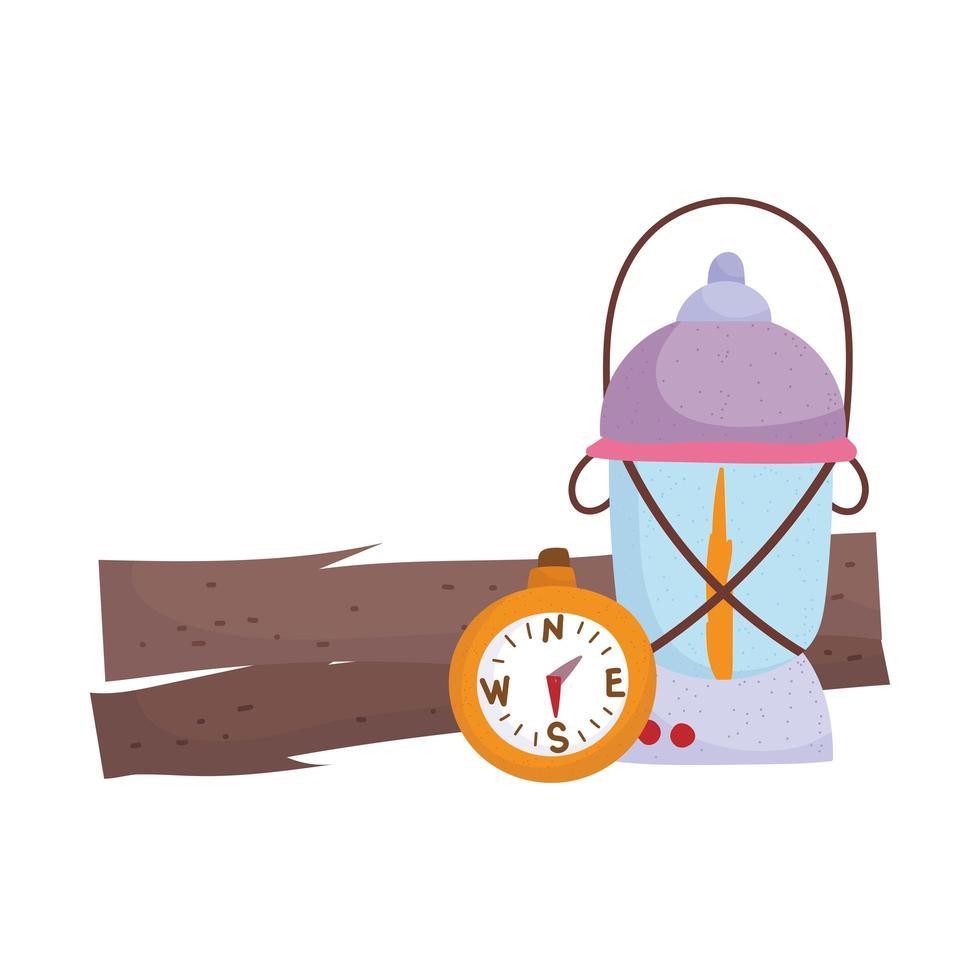 camping lantaarn en kompas kofferbak apparatuur cartoon vector