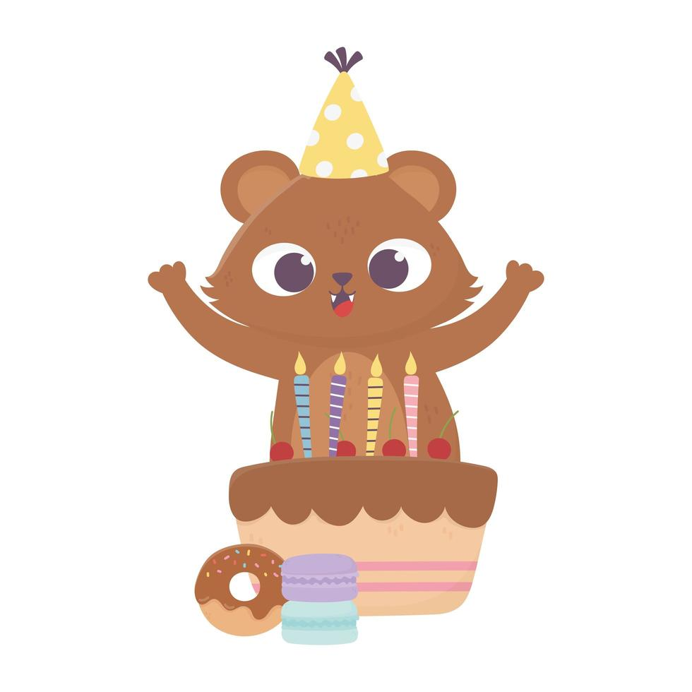 gelukkige dag, kleine beer met feestmuts cake en donut vector