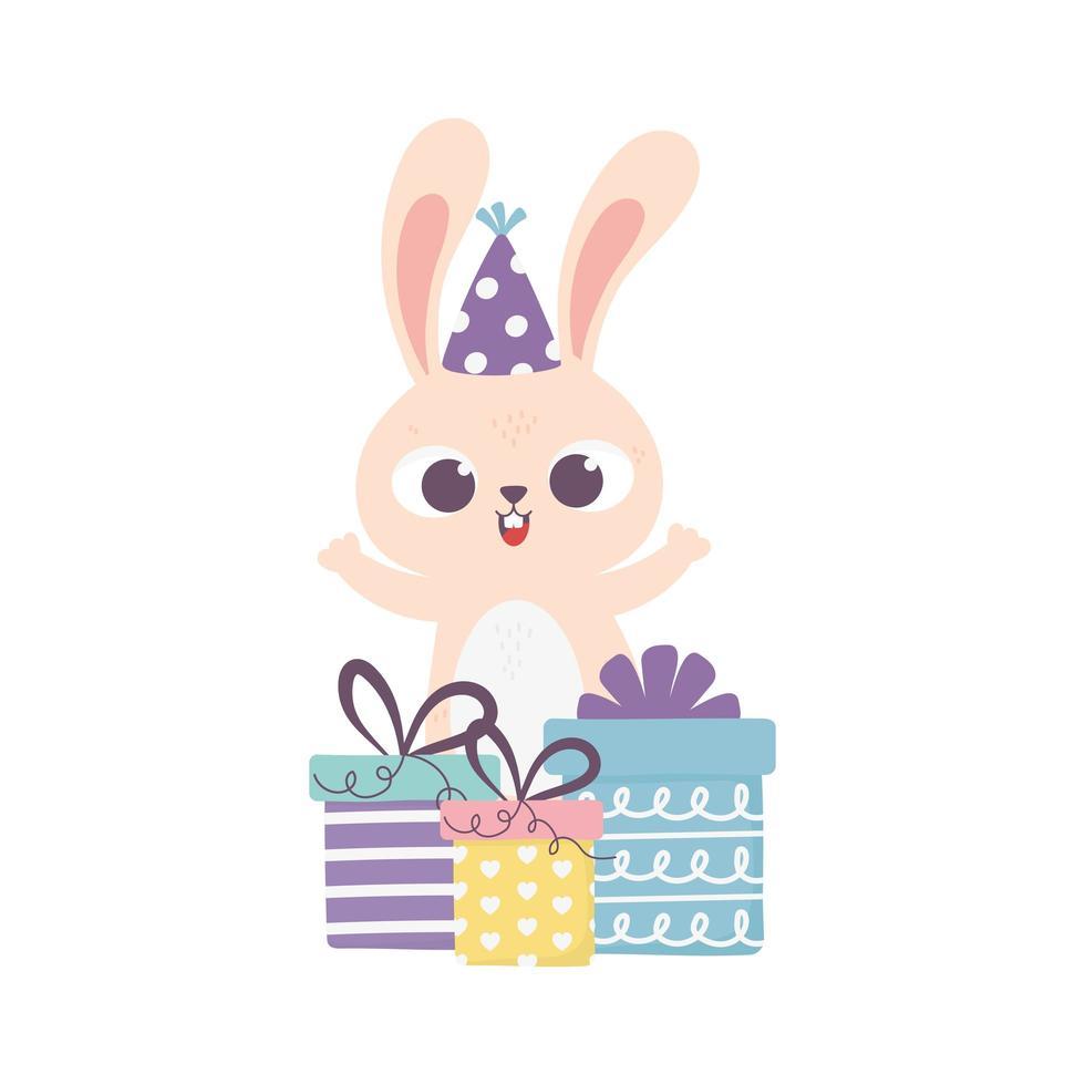 gelukkige dag, konijn met feestmuts en geschenkdozen verrassing vector