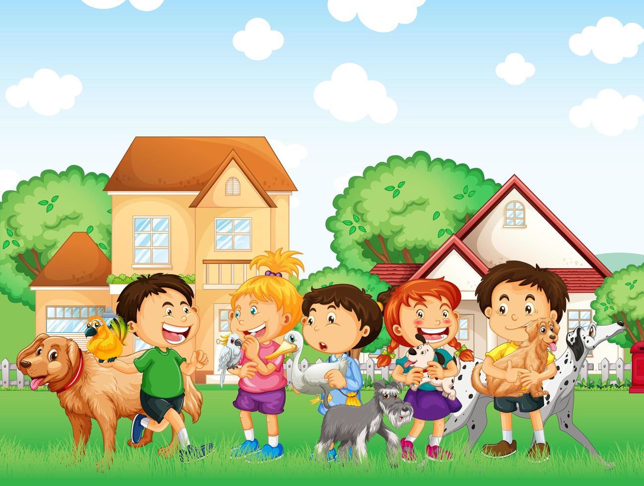 openluchtscène met groep huisdieren en kinderen vector