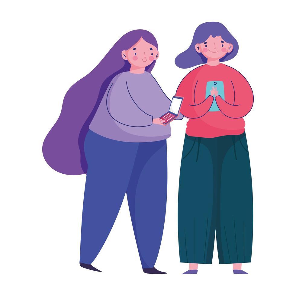 mensen en smartphone, vrouwen die lopen met behulp van digitale cartoon van mobiel apparaat vector