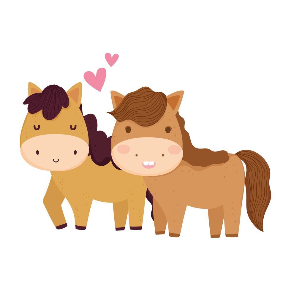 boerderijdieren paar paarden geïsoleerd pictogram op witte achtergrond vector