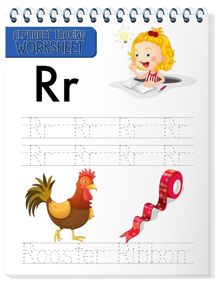 alfabet overtrekken werkblad met letter r en r vector