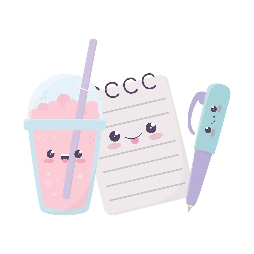 schattig Kladblok-pen en milkshake kawaii stripfiguur vector