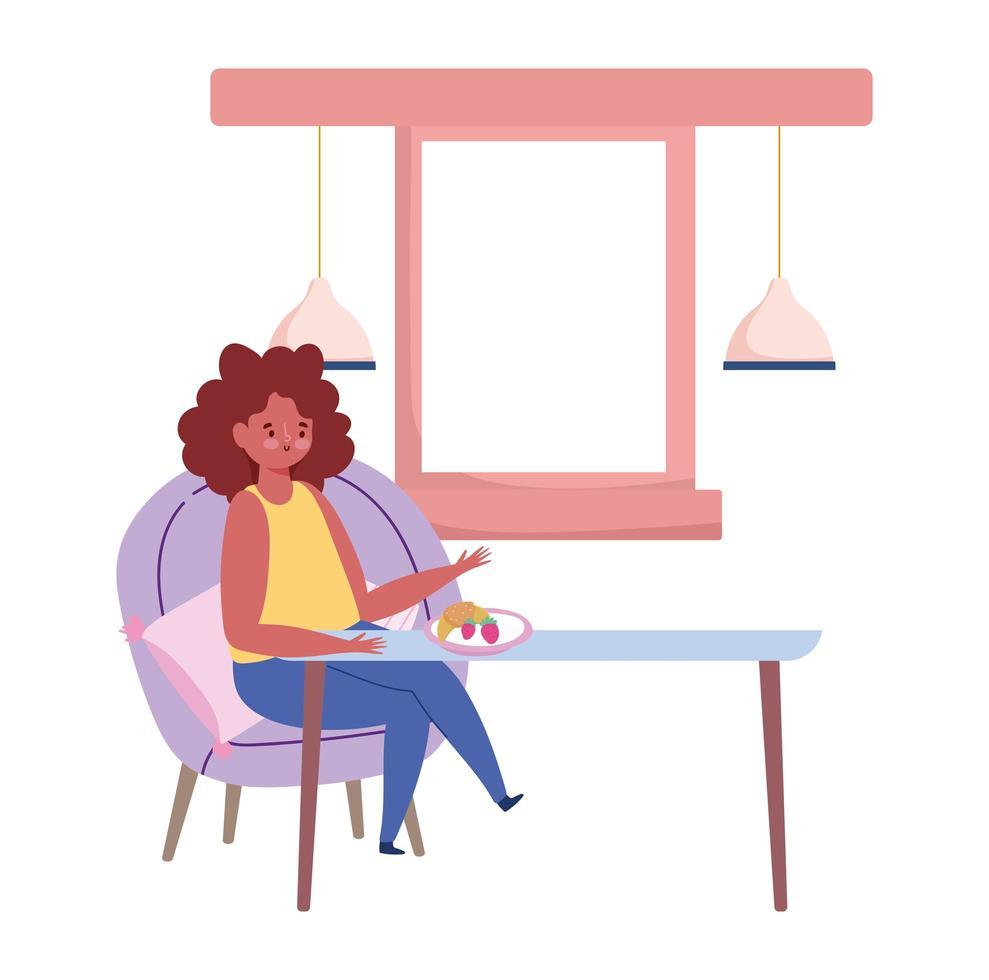 restaurant sociaal afstand nemen, vrouw zittend aan tafel nieuw normaal, preventie covid 19 coronavirus vector