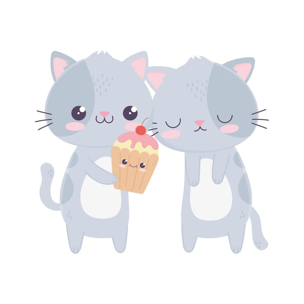 schattige kleine katten met zoete cupcake kawaii stripfiguur vector
