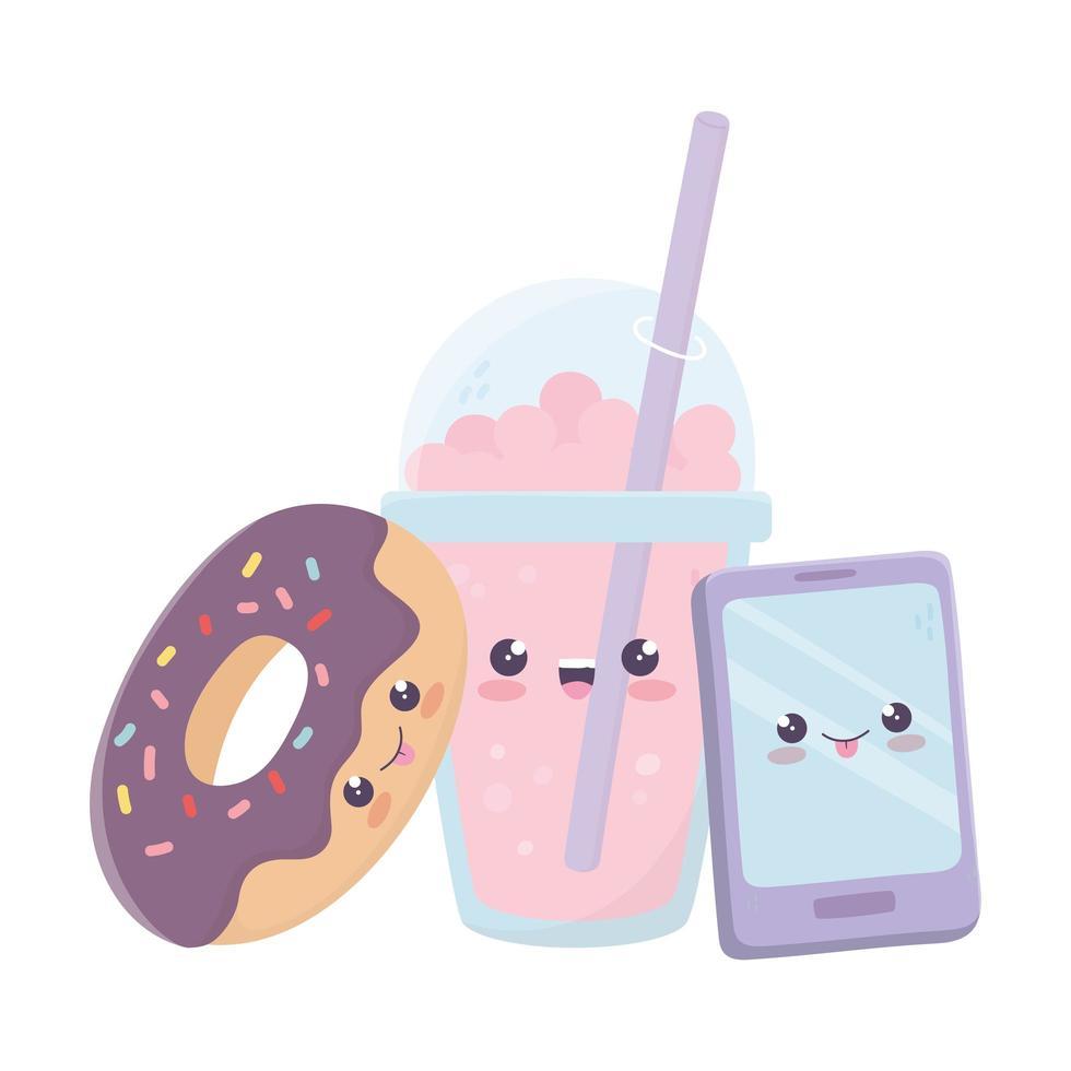smartphone donut en kawaii stripfiguur vector