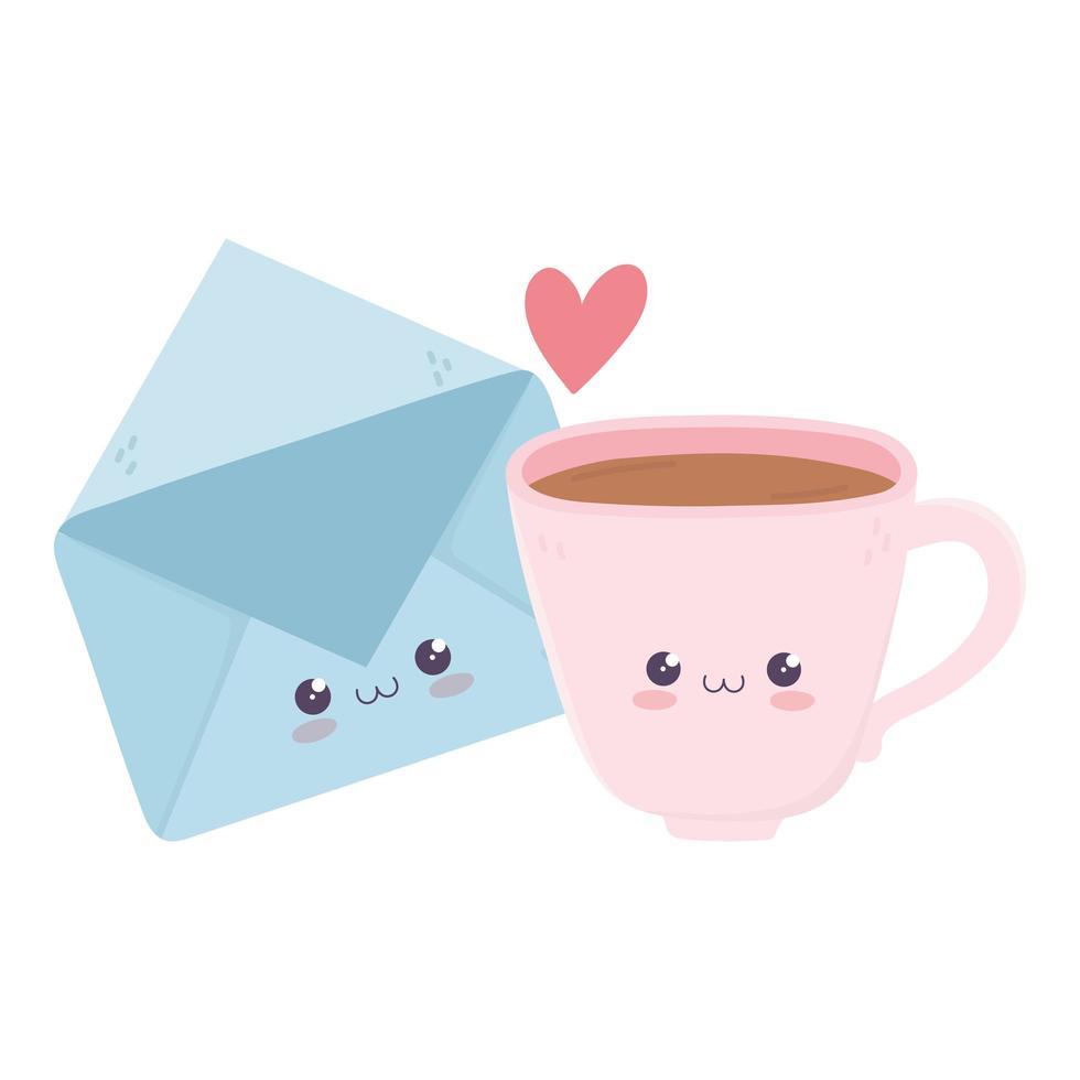 schattig koffiekopje en mail envelop liefde kawaii stripfiguur vector