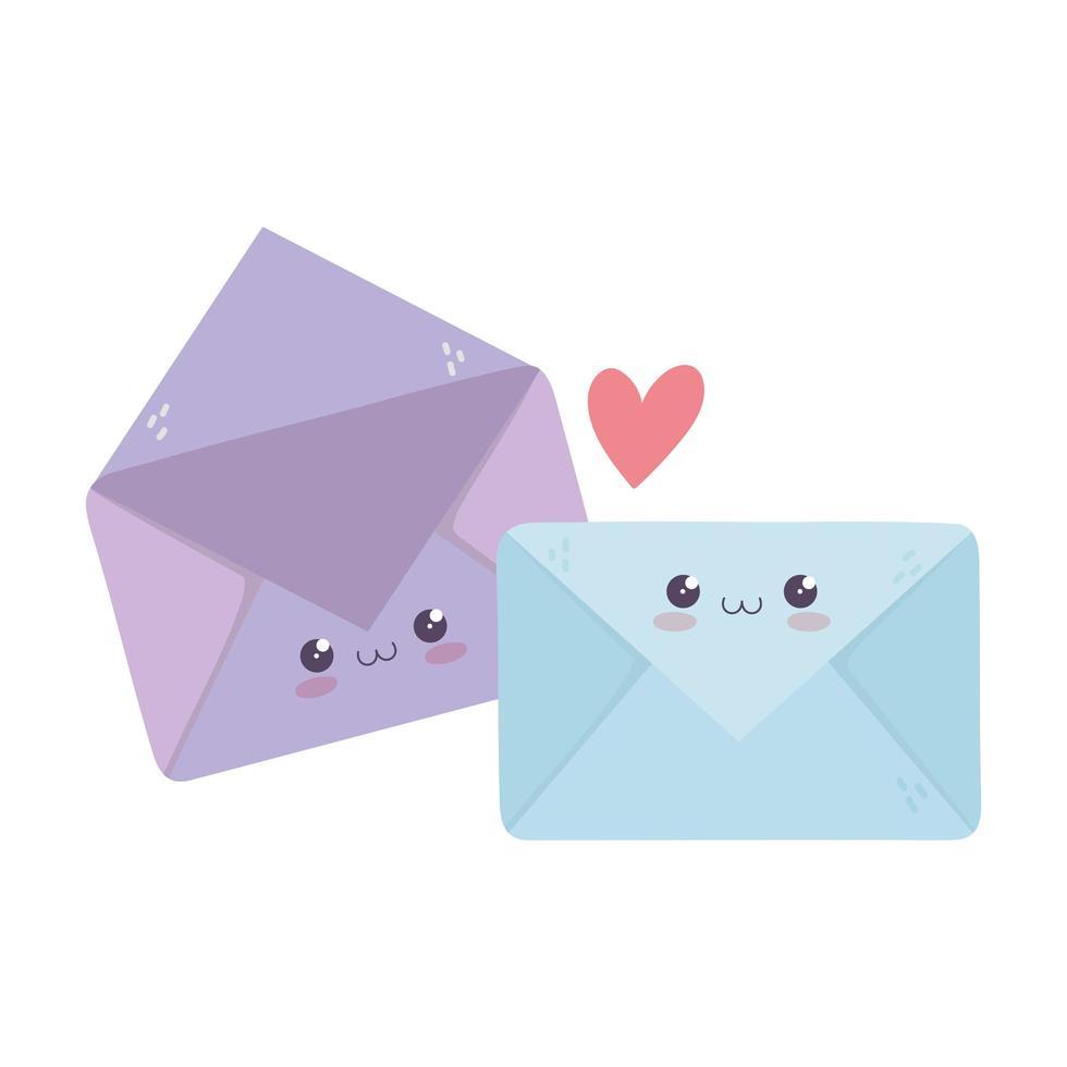 schattige envelop liefde harten kawaii stripfiguur vector